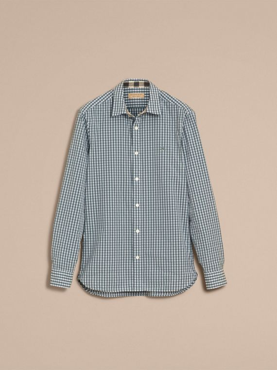 Gingham Cotton Poplin Shirt with Check Detail in Dusty Teal Blue - Men | Burberry - cell image 3