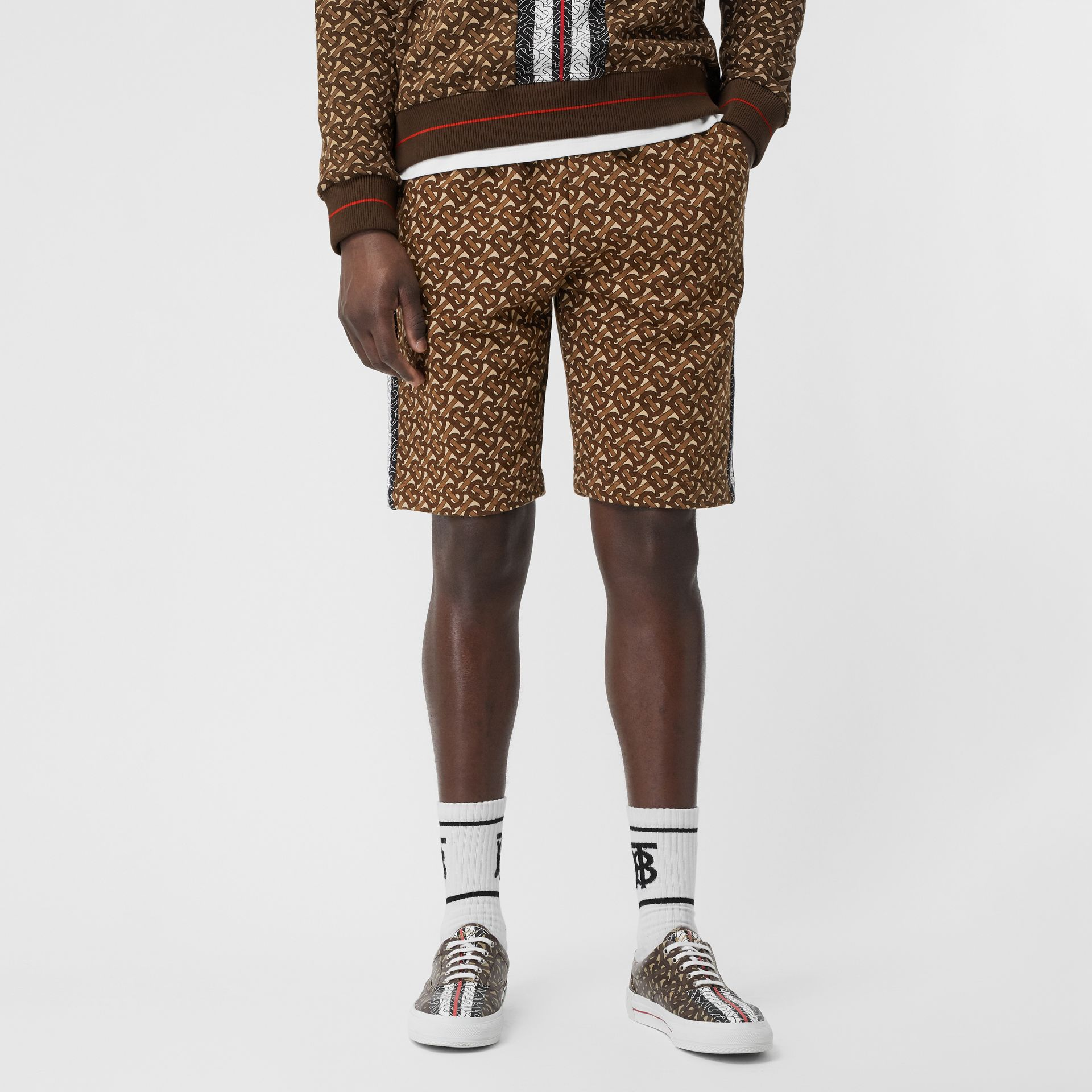 Monogram Stripe Print Cotton Drawcord Shorts in Bridle Brown - Men | Burberry Hong Kong S.A.R - gallery image 0