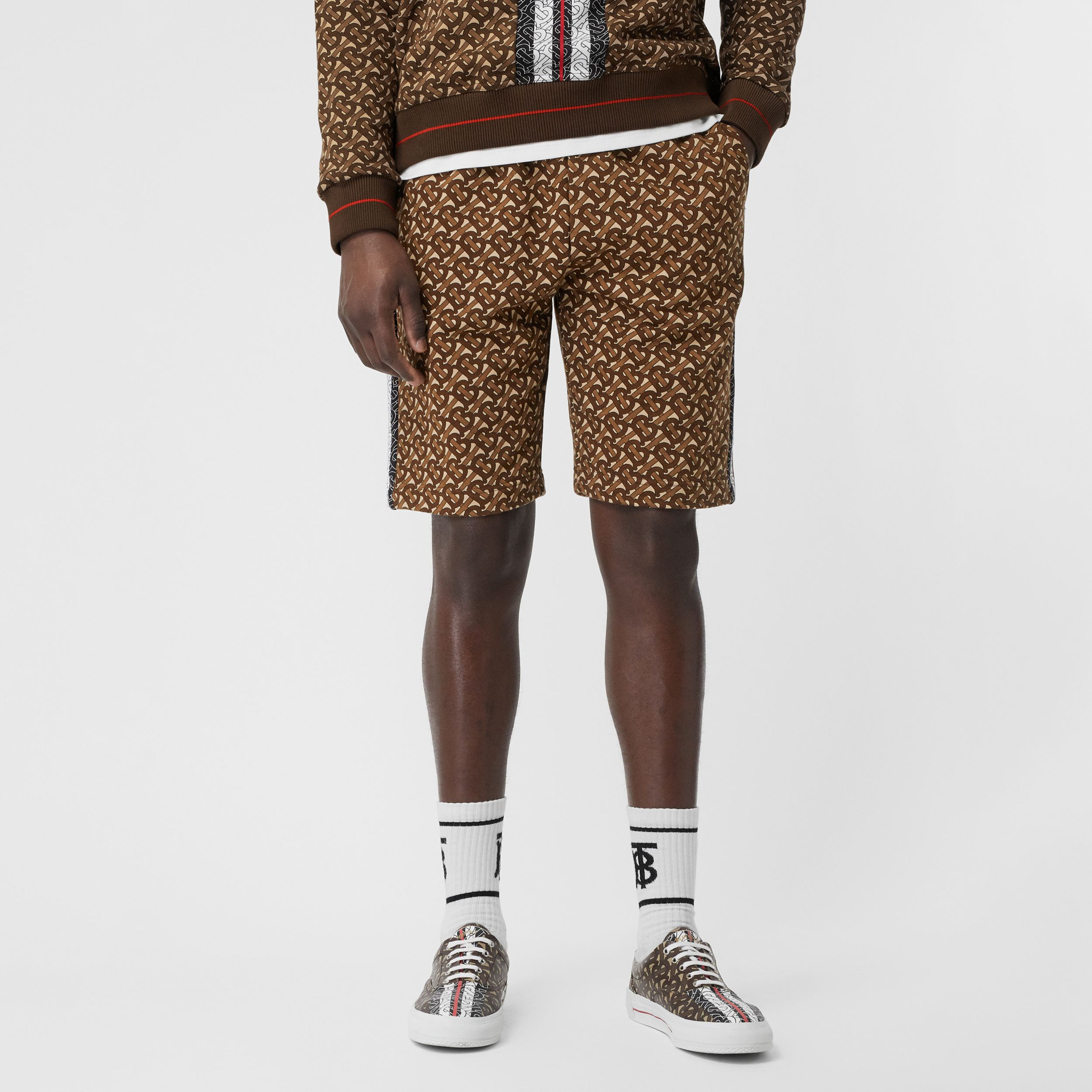 Monogram Stripe Print Cotton Drawcord Shorts in Bridle Brown - Men | Burberry - 1