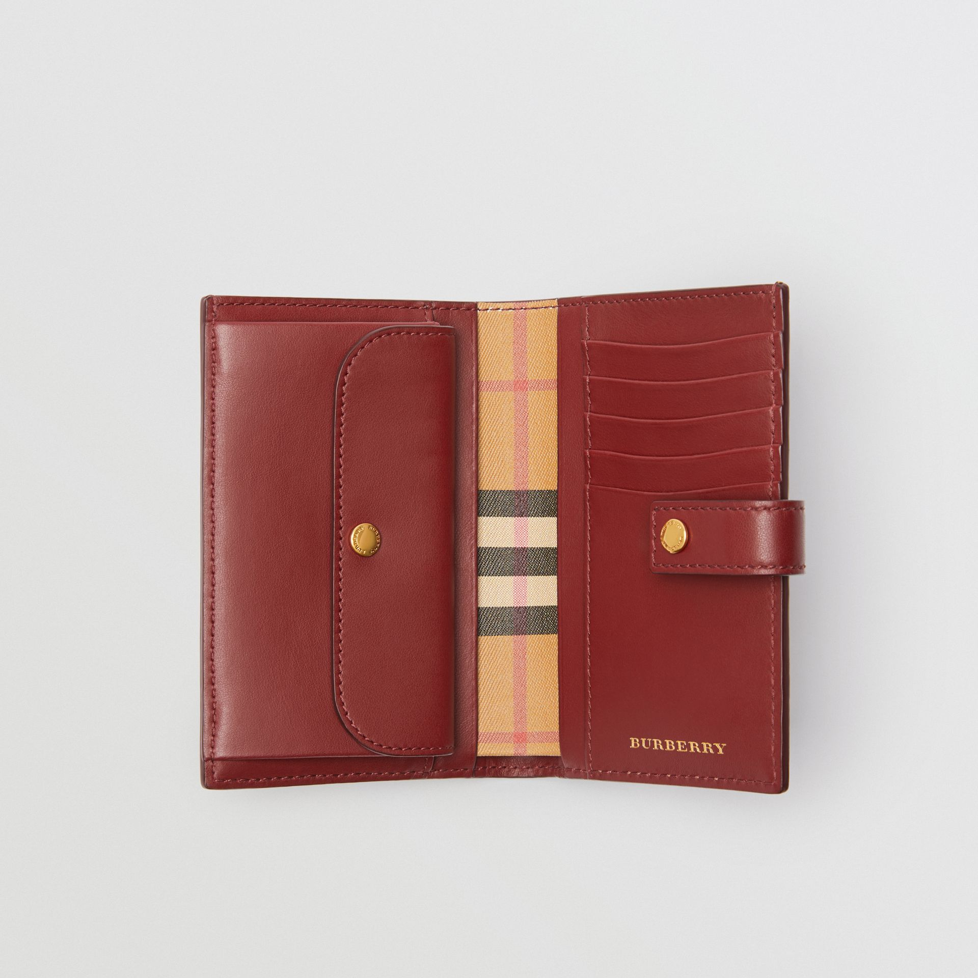 Vintage Check and Leather Folding Wallet in Crimson - Women | Burberry - gallery image 3