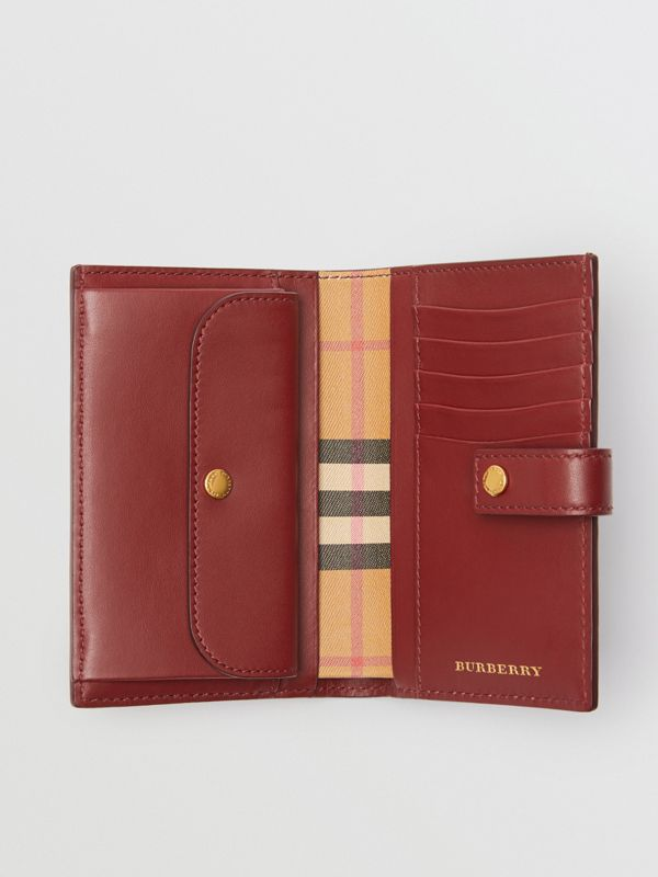 Vintage Check and Leather Folding Wallet in Crimson - Women | Burberry - cell image 3