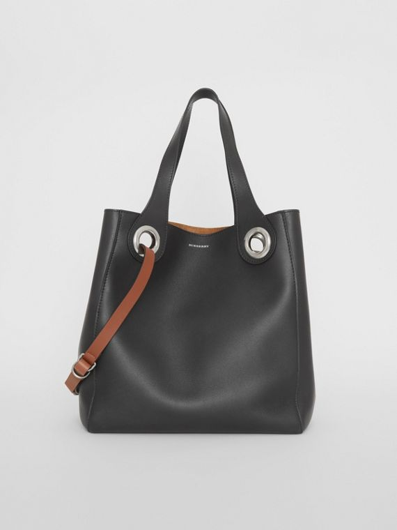 The Medium Leather Grommet Detail Tote in Black
