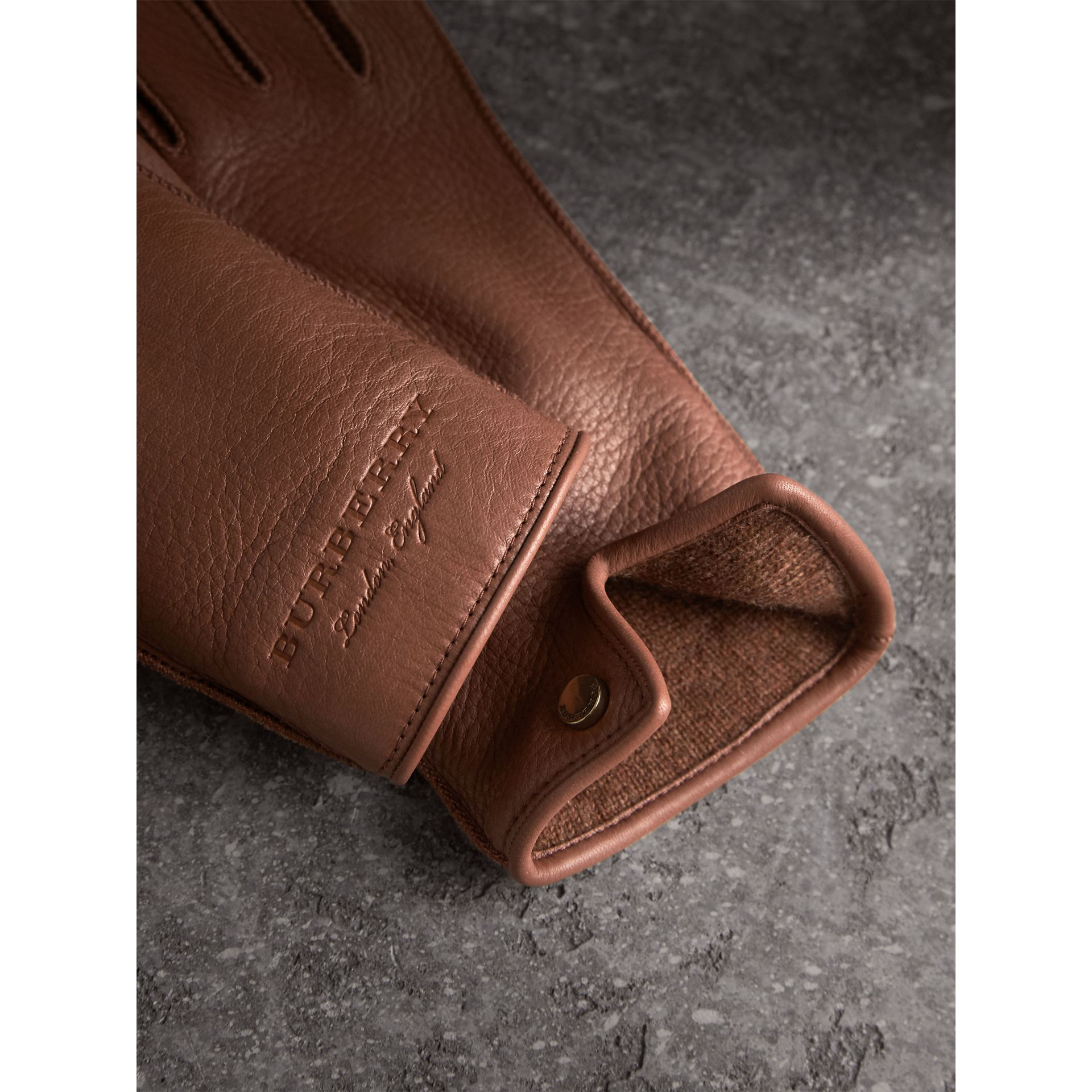 Deerskin Gloves in Chestnut Brown - Women | Burberry United Kingdom - gallery image 1