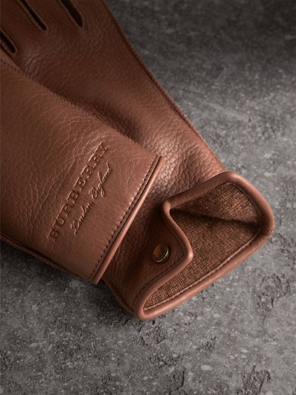 Deerskin Gloves in Chestnut Brown - Women | Burberry Singapore - cell image 1