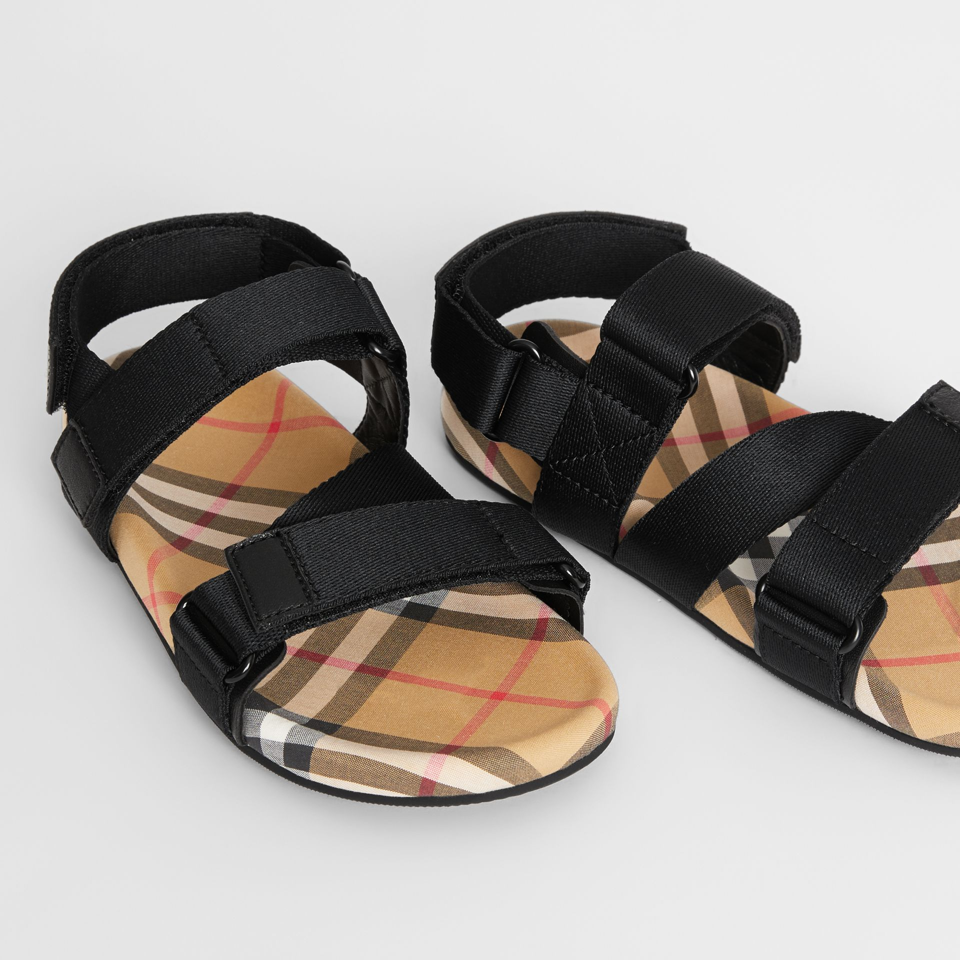 Ripstop Strap Vintage Check Cotton Sandals in Black/antique Yellow - Children | Burberry United Kingdom - gallery image 1