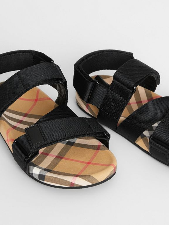 Ripstop Strap Vintage Check Cotton Sandals in Black/antique Yellow - Children | Burberry United Kingdom - cell image 1