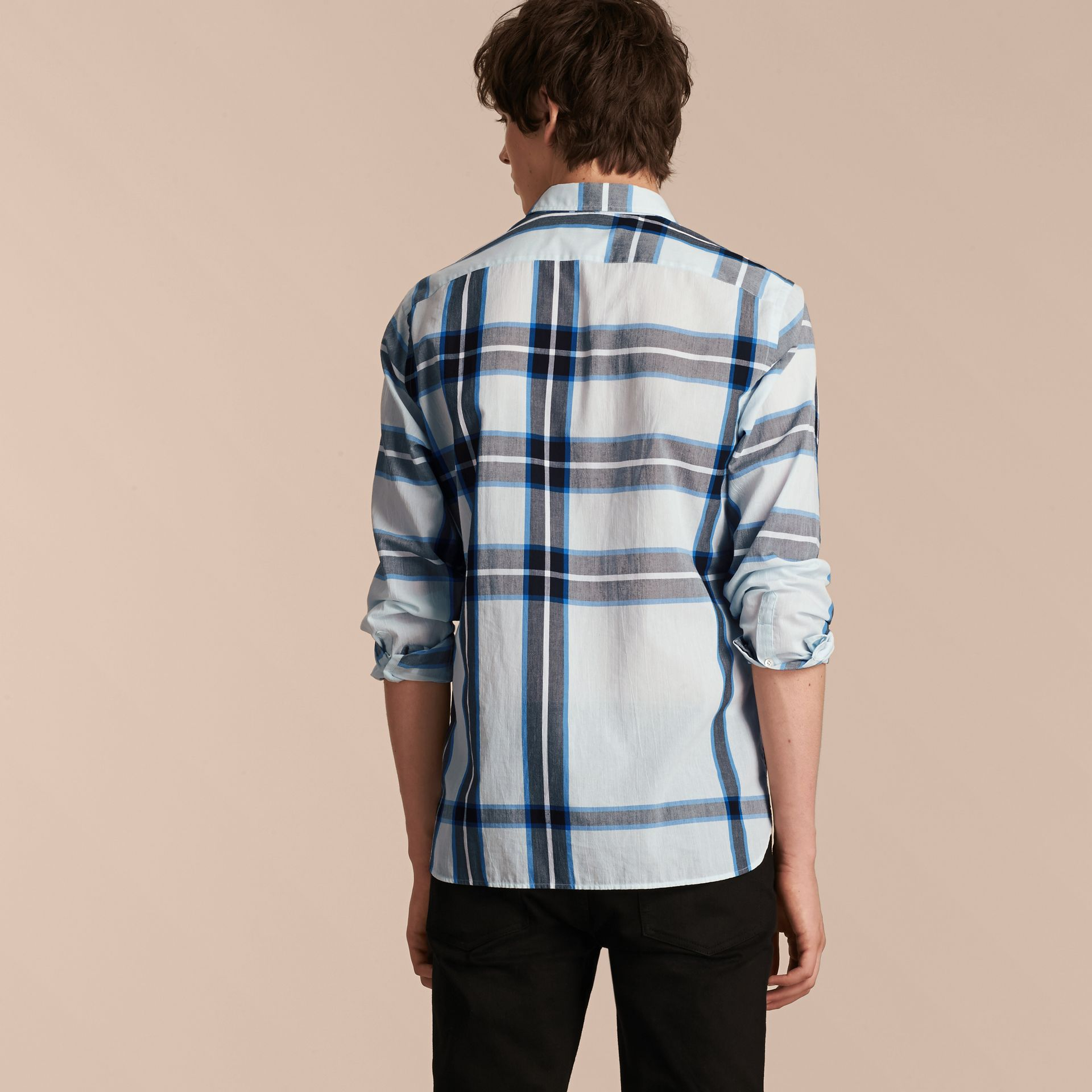 Check Cotton Shirt Light Blue - gallery image 3