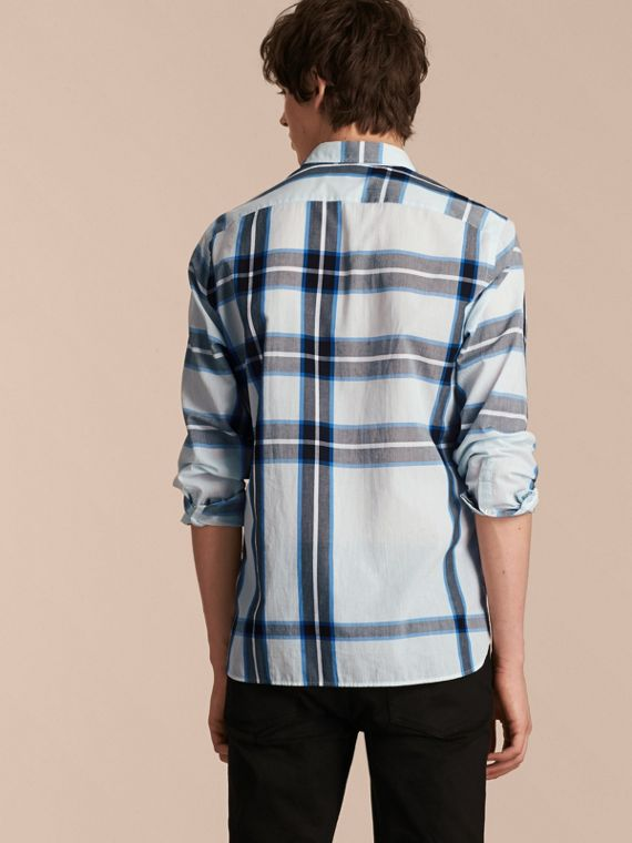 Check Cotton Shirt Light Blue - cell image 2