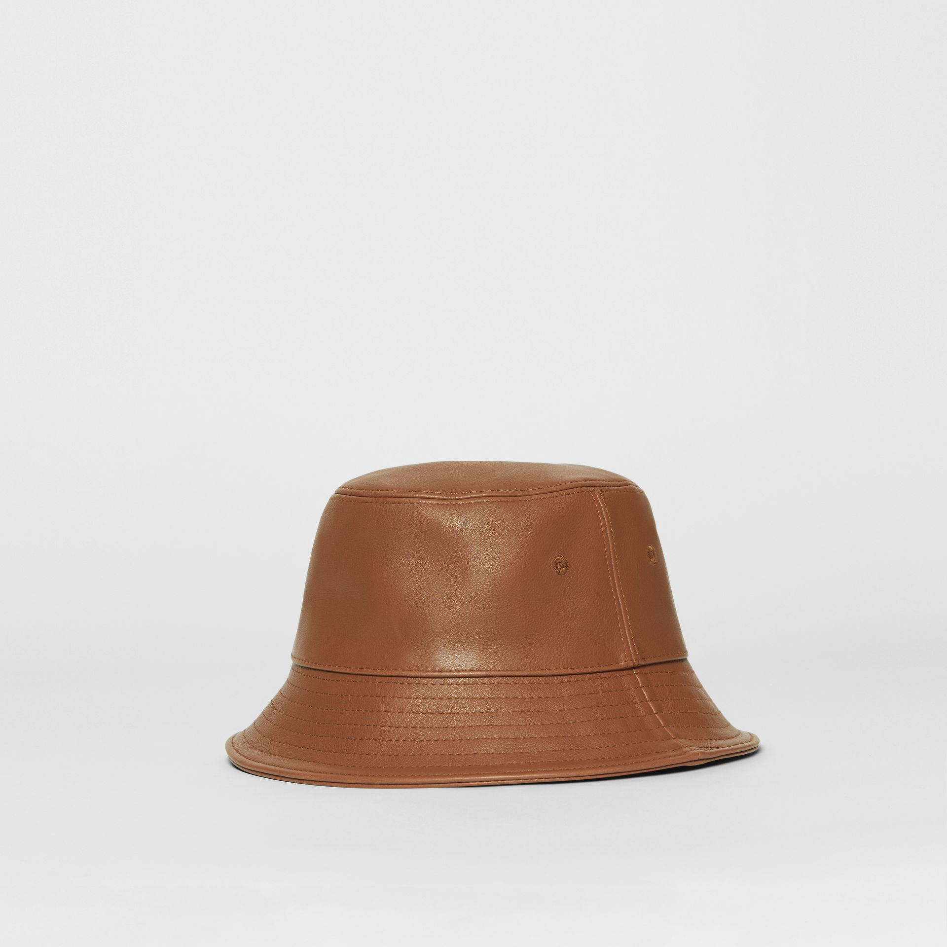 Logo Detail Leather Bucket Hat in Tan | Burberry United States - gallery image 5