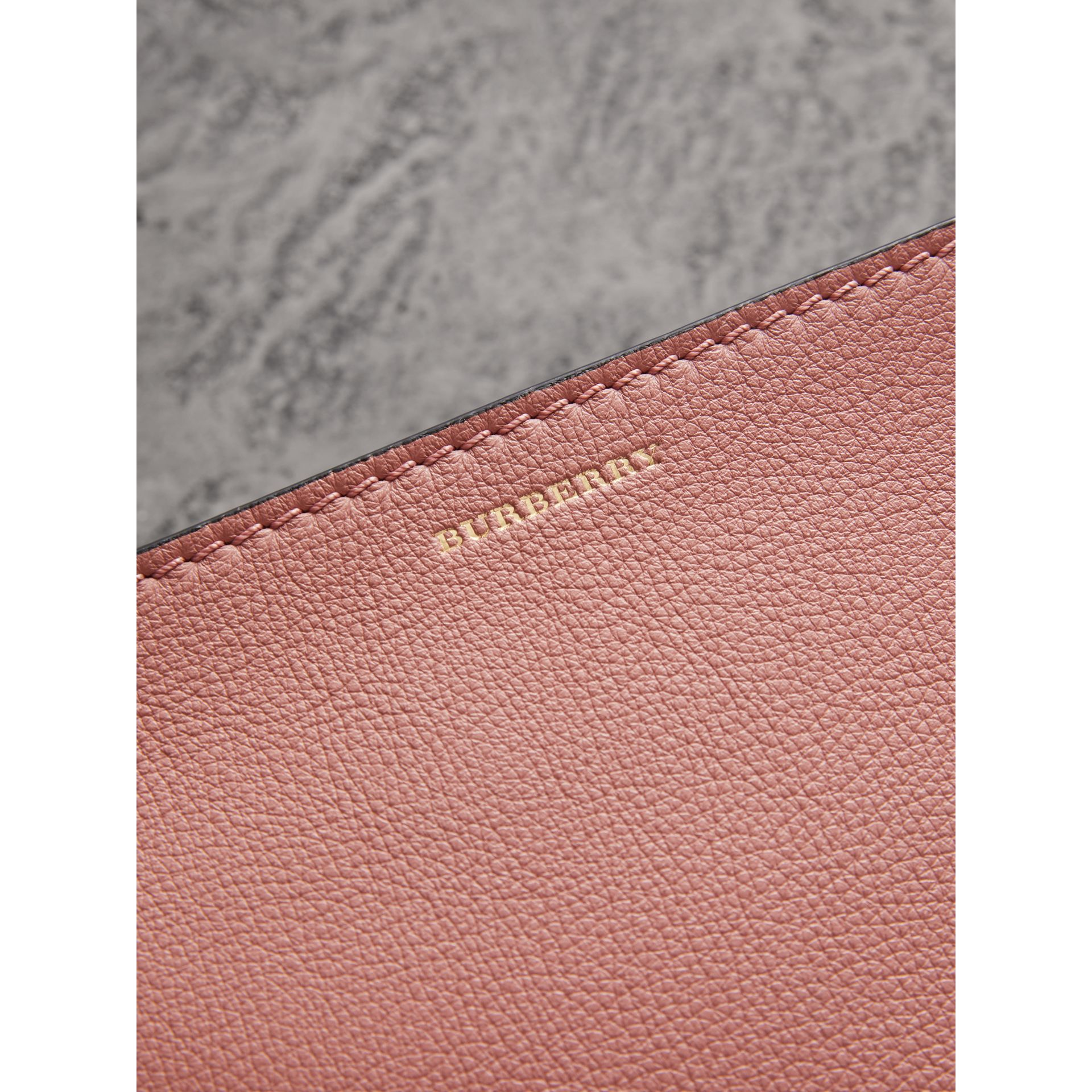 Medium Tri-tone Leather Clutch in Dusty Rose/limestone | Burberry Australia - gallery image 1