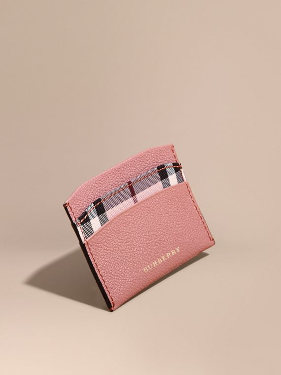 Check and Leather Card Case Ash Rose/ Dusty Pink