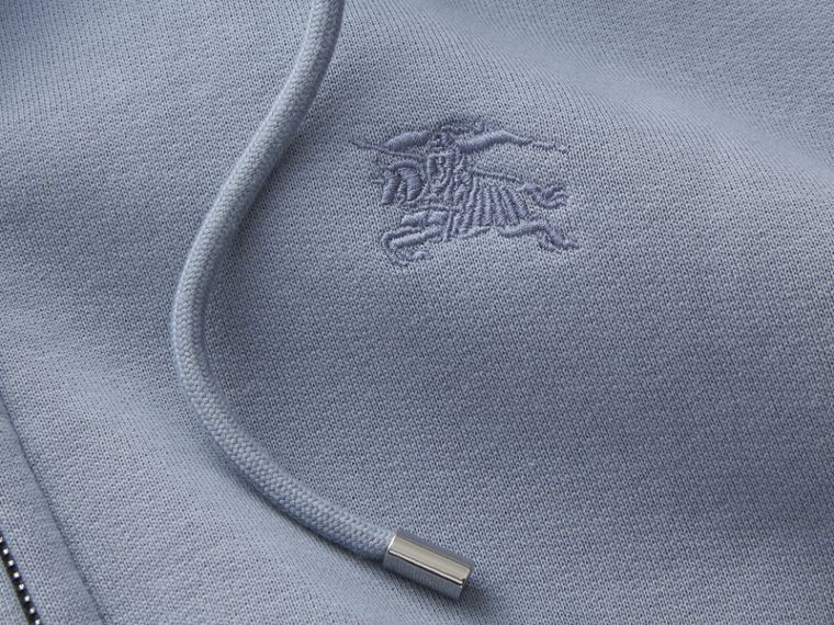Hooded Cotton Jersey Top in Slate Blue - Men | Burberry - cell image 1