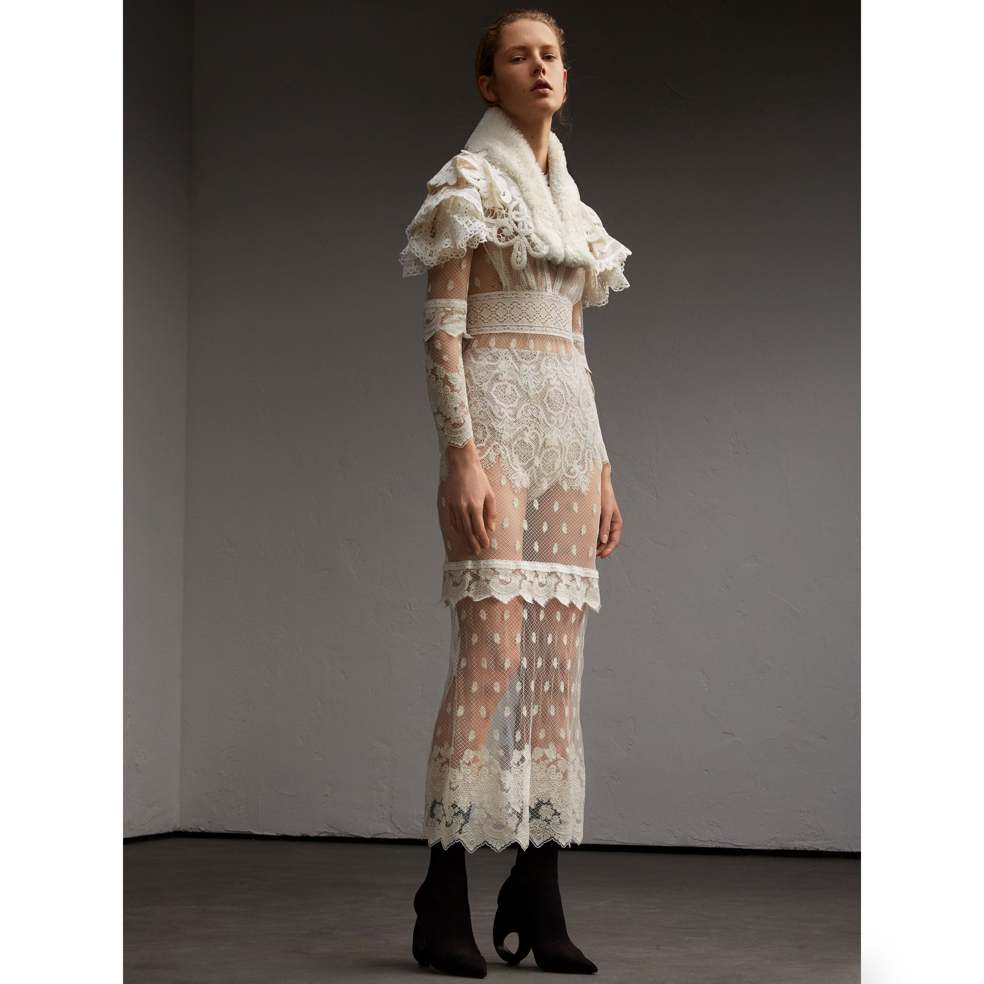 Lace Capelet with Shearling Collar in White - Women | Burberry - gallery image 6