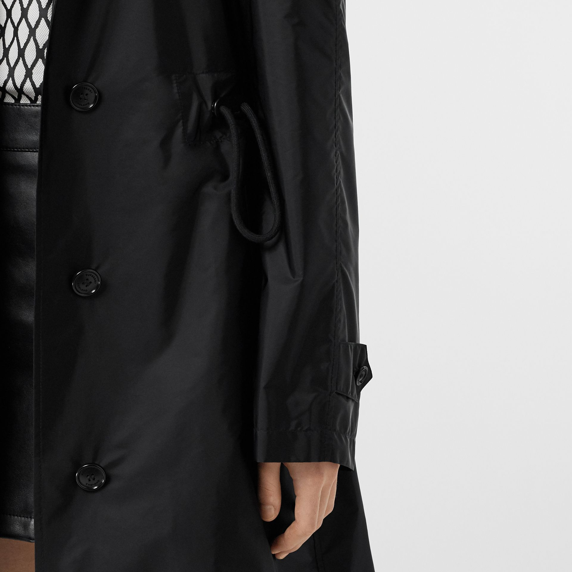 Detachable Hood Taffeta Parka in Black - Women | Burberry - gallery image 6