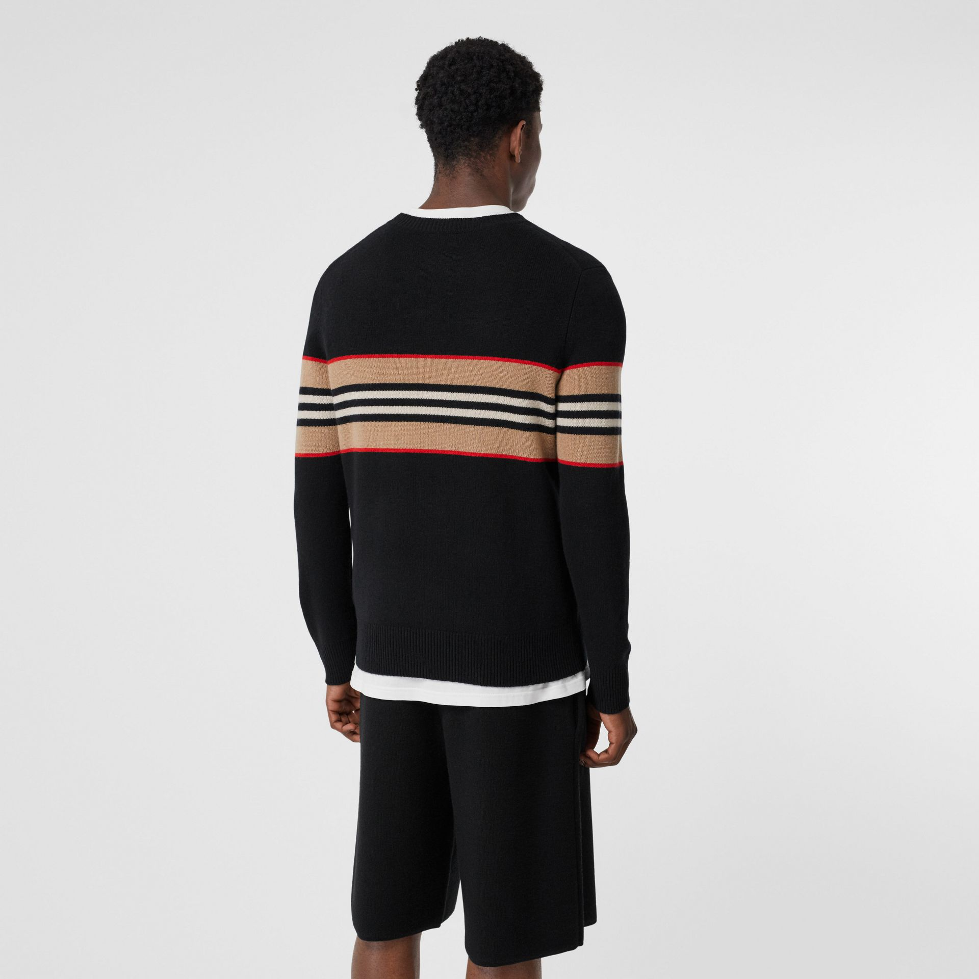 Icon Stripe Detail Cashmere Sweater in Black - Men | Burberry United Kingdom - gallery image 2