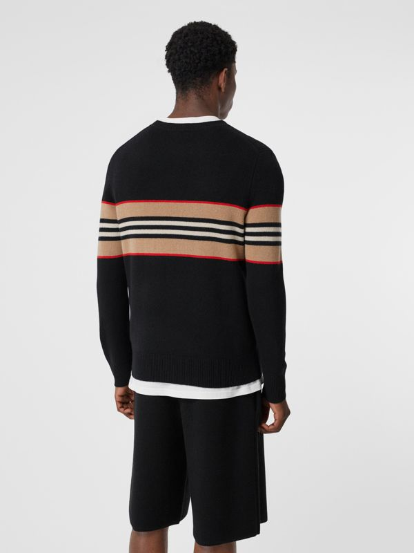 Icon Stripe Detail Cashmere Sweater in Black - Men | Burberry Singapore - cell image 2