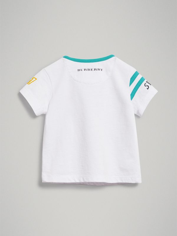 Adventure Motif Cotton T-shirt in White - Children | Burberry - cell image 3