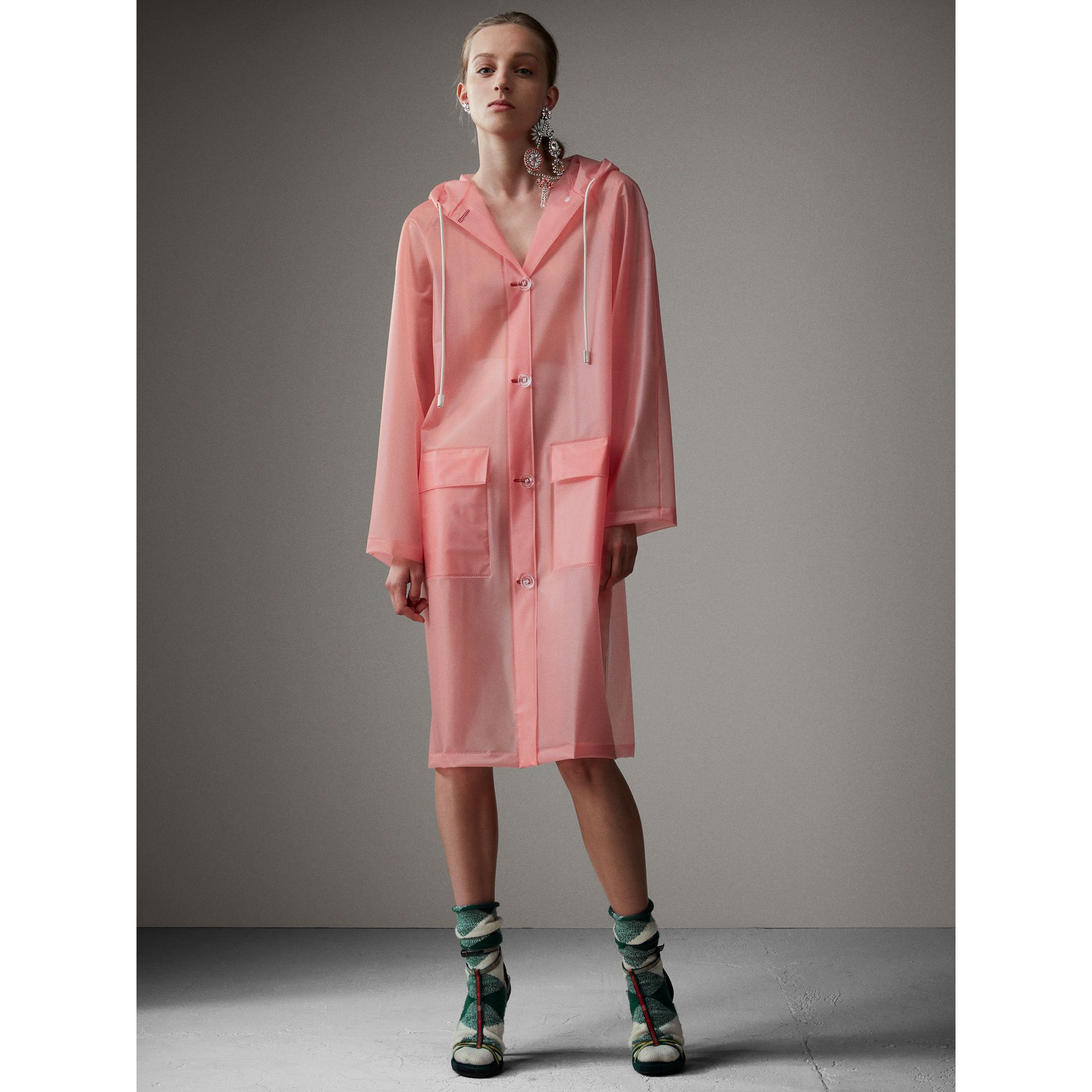 Soft-touch Plastic Hooded Coat in Rose Pink - Women | Burberry - gallery image 0