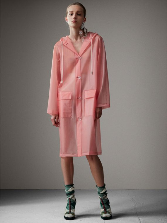 Soft-touch Plastic Hooded Coat in Rose Pink