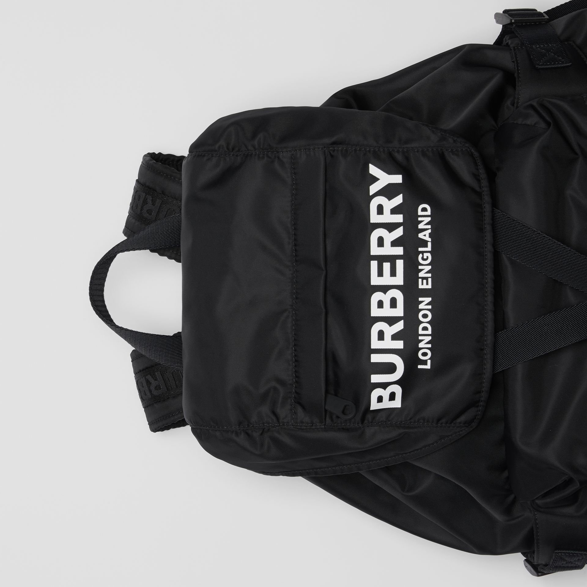 Logo Print Nylon Backpack in Black - Women | Burberry Australia - gallery image 1