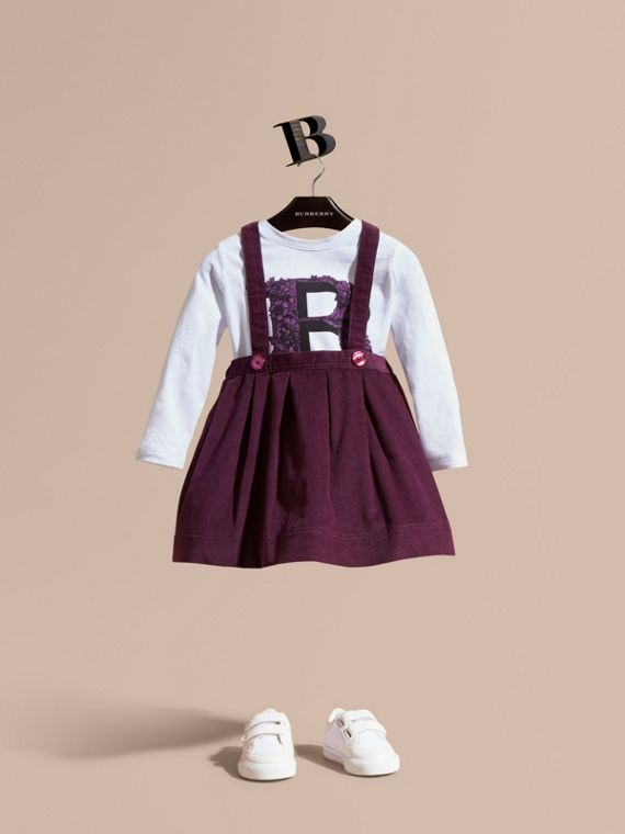 Cotton Corduroy Skirt with Straps Blackcurrant
