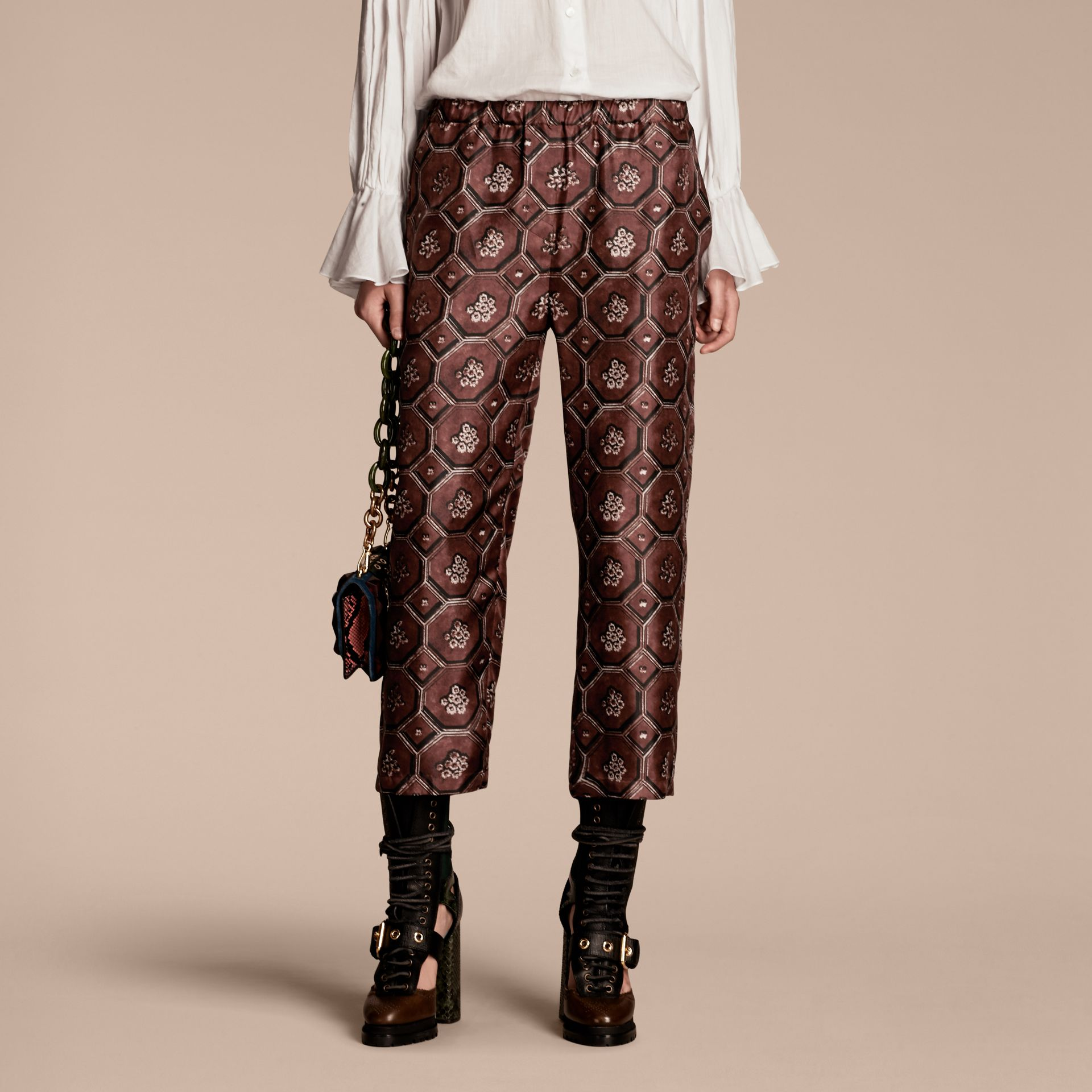 Geometric Wallpaper Print Silk Twill Cropped Pyjama-style Trousers Deep Claret - gallery image 1