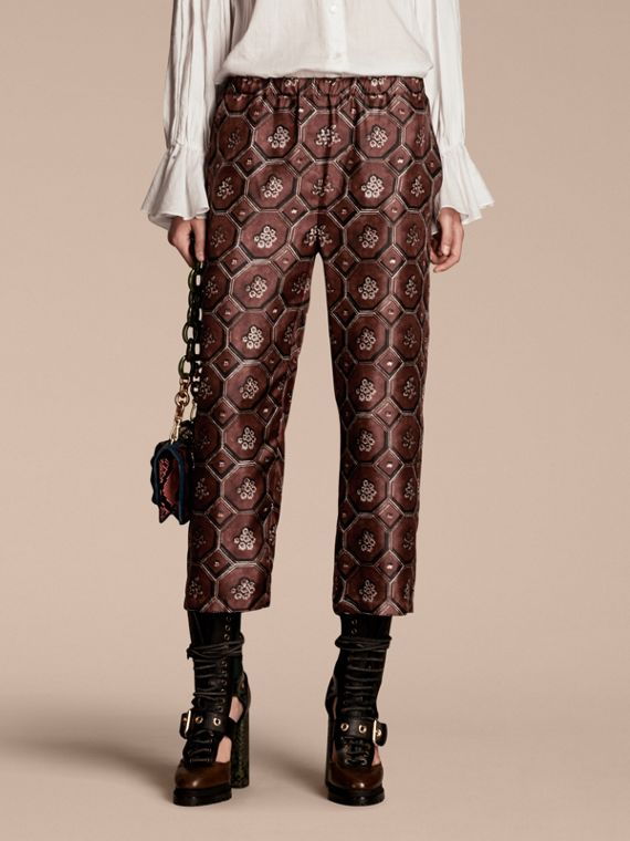Geometric Wallpaper Print Silk Twill Cropped Pyjama-style Trousers Deep Claret