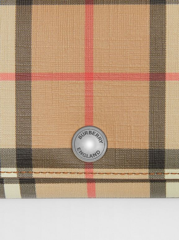 Vintage Check and Leather Continental Wallet in Malt Brown - Women | Burberry - cell image 1