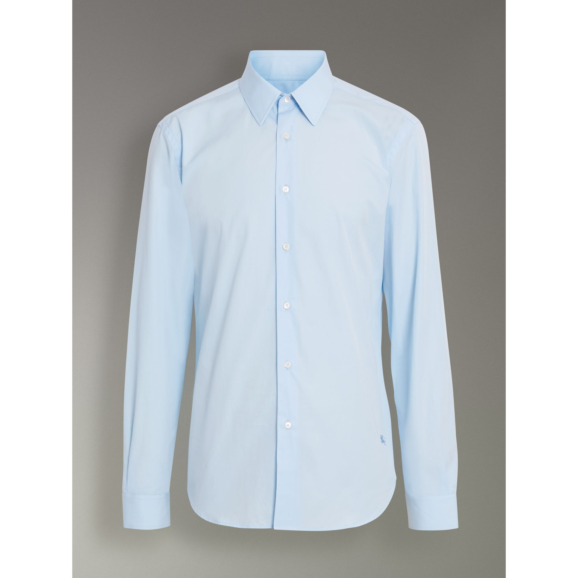 Slim Fit Cotton Poplin Shirt in City Blue - Men | Burberry Hong Kong - gallery image 3