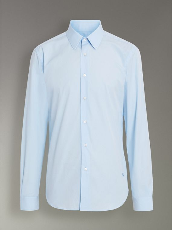 Slim Fit Cotton Poplin Shirt in City Blue - Men | Burberry Hong Kong - cell image 3