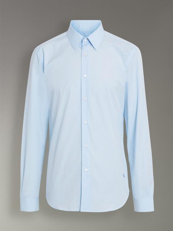 修身剪裁棉質府綢襯衫 (都會藍) - 男款 | Burberry - cell image 3
