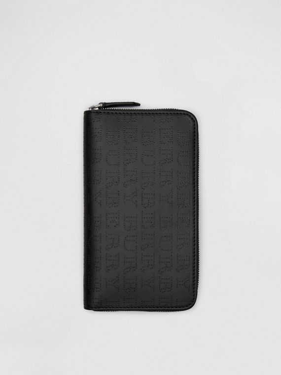 Perforated Logo Leather Ziparound Wallet in Black