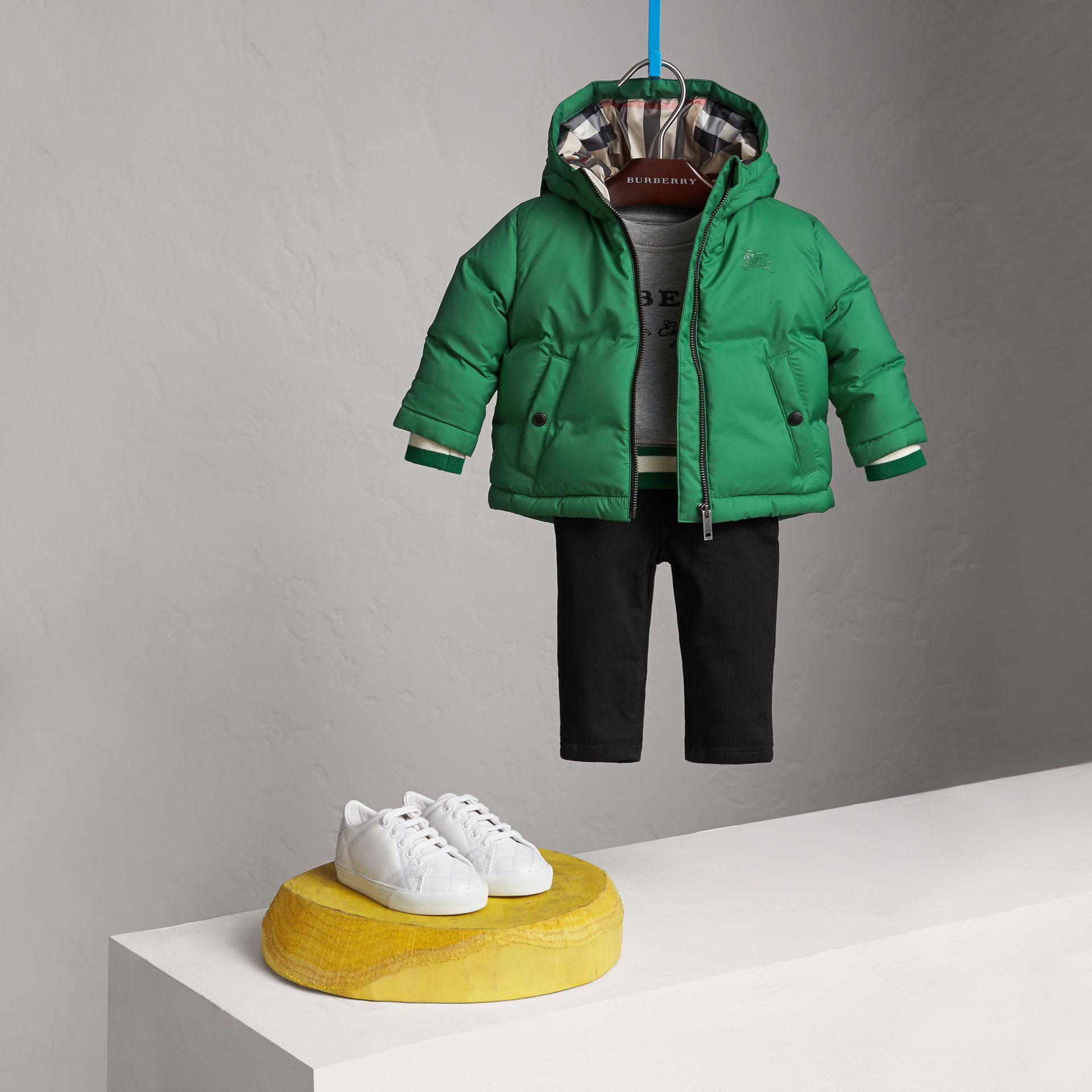 Down-filled Hooded Puffer Jacket in Pigment Green | Burberry - gallery image 2