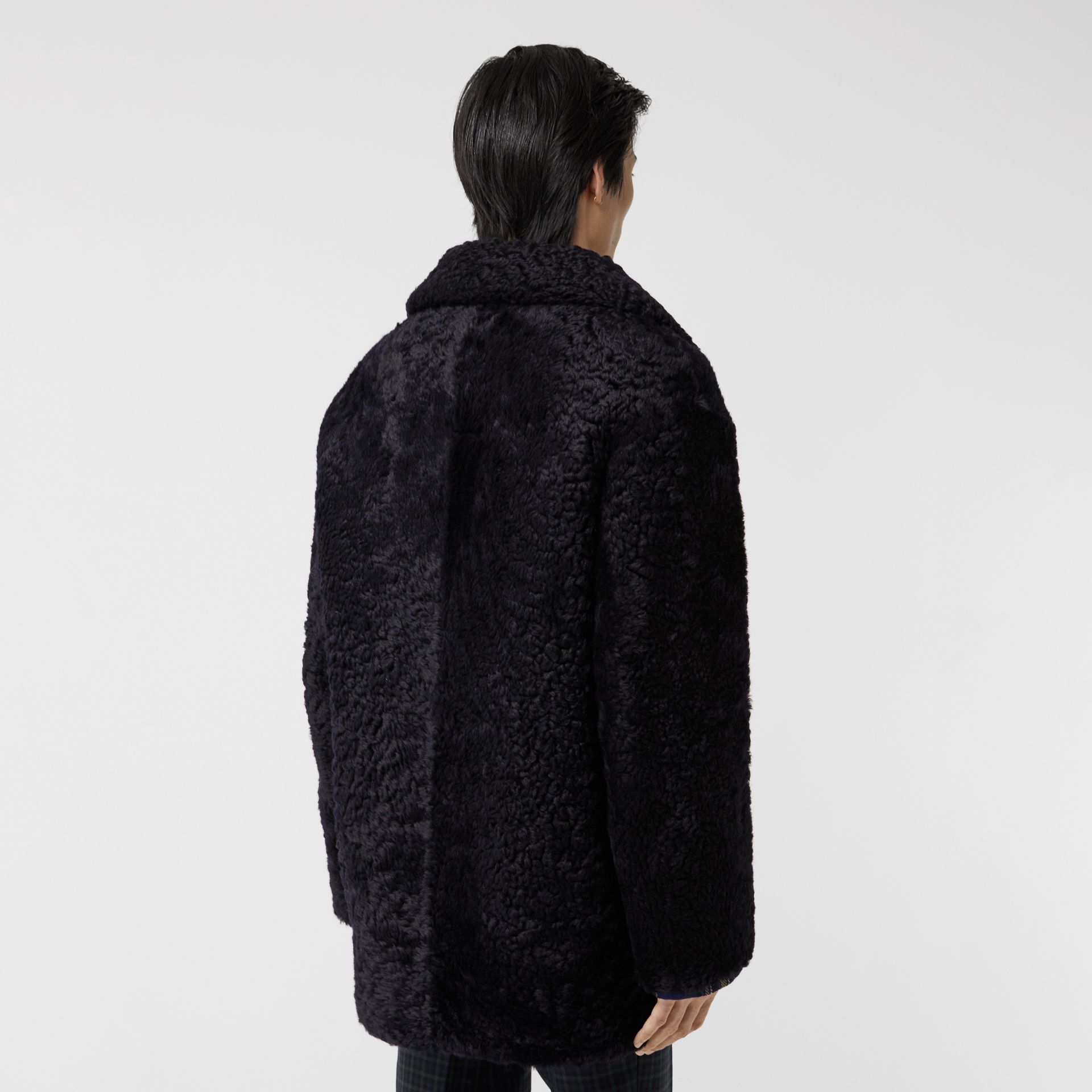 Curly Shearling Coat in Navy - Men | Burberry - gallery image 2