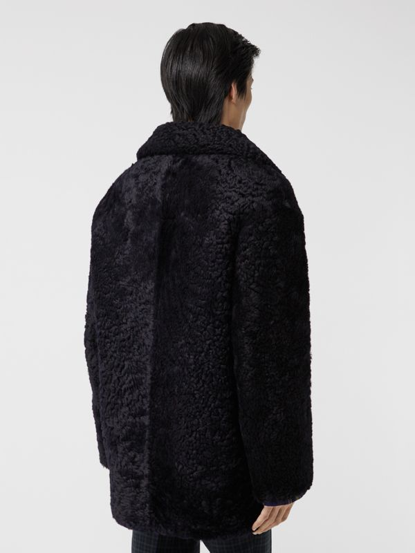 Curly Shearling Coat in Navy - Men | Burberry - cell image 2