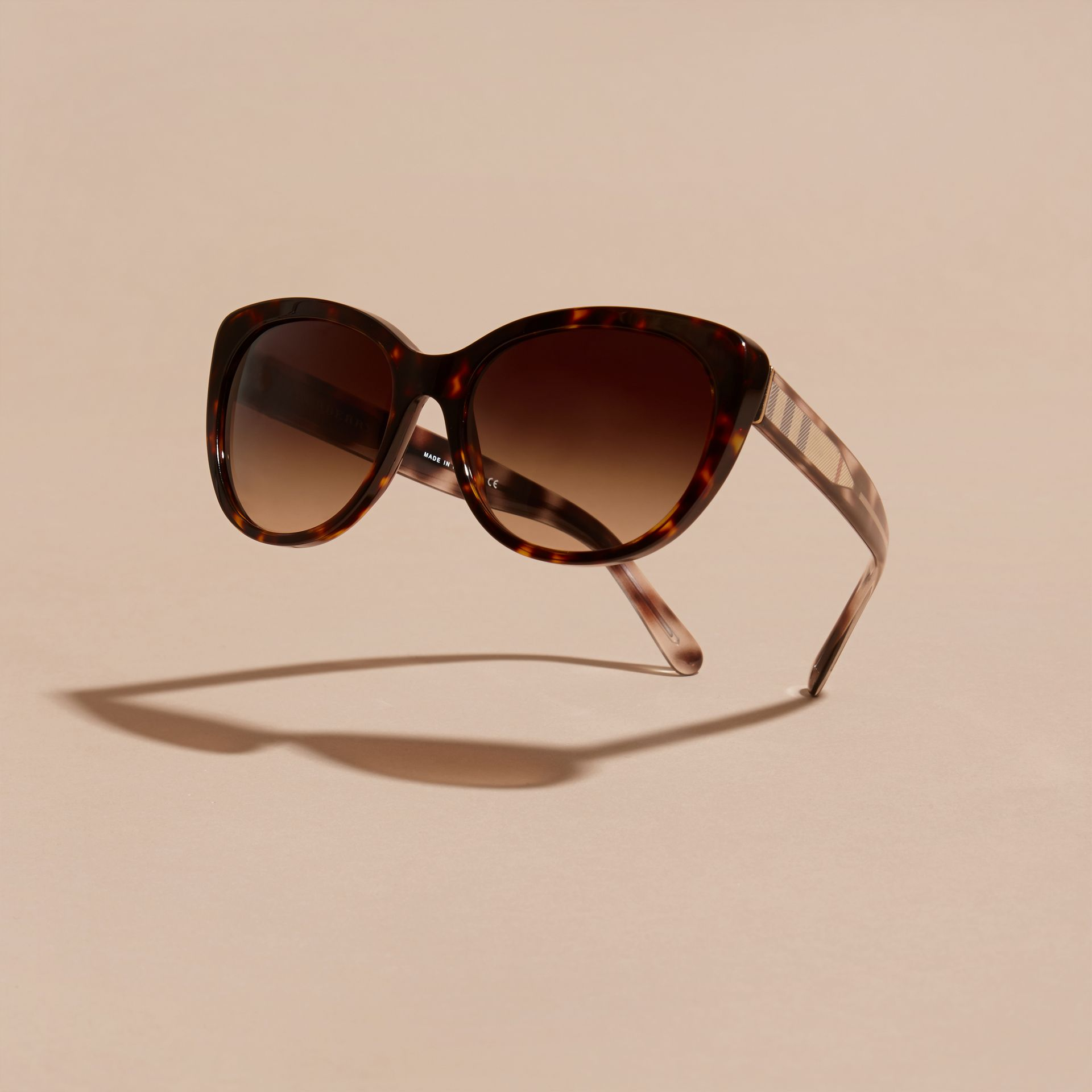 Check Detail Cat-eye Sunglasses in Light Russet Brown - Women | Burberry - gallery image 3