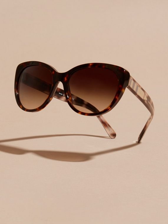 Check Detail Cat-eye Sunglasses in Light Russet Brown - Women | Burberry Canada - cell image 2