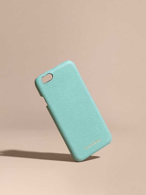 Grainy Leather iPhone 6 Case in Pale Opal - Women | Burberry