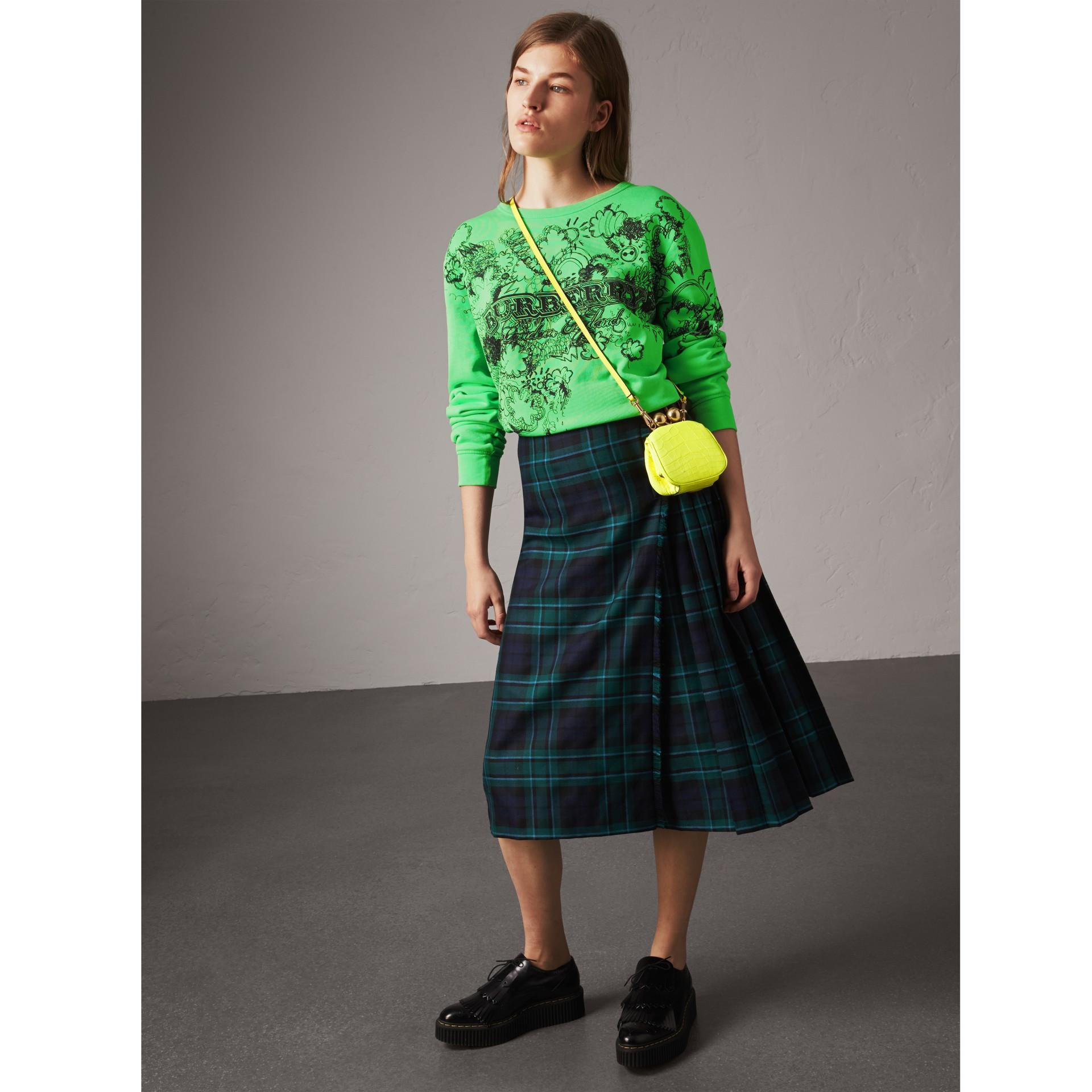 蘇格蘭格紋羊毛蘇格蘭裙 (松柏綠) - 女款 | Burberry - 圖庫照片 0