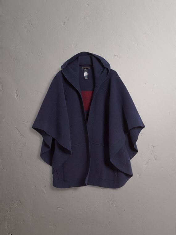 Wool Cashmere Blend Hooded Poncho in Navy/black - Women | Burberry - cell image 3