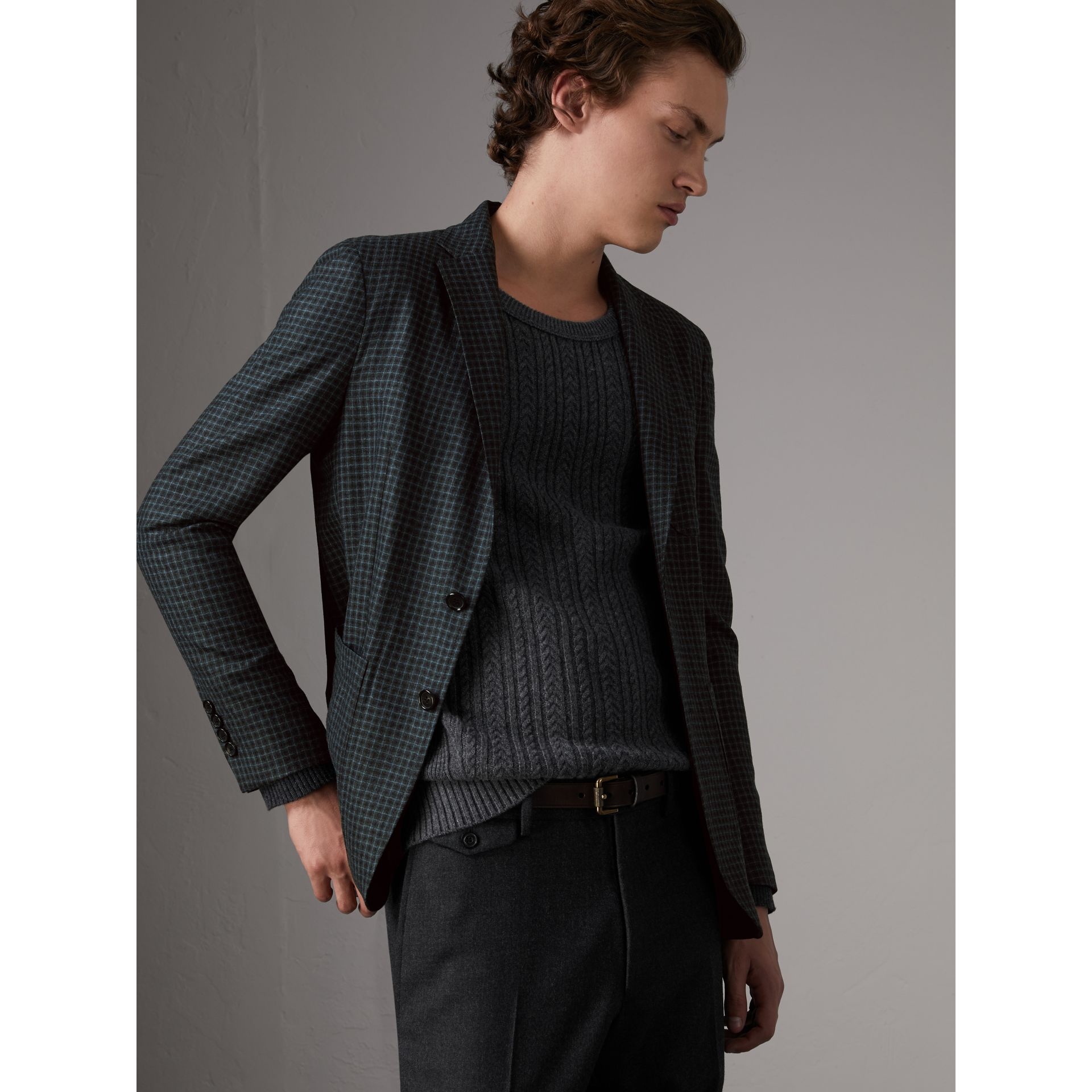 Soho Fit Micro Check Wool Flannel Tailored Jacket in Dark Grey Melange - Men | Burberry - gallery image 1