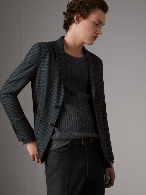 Soho Fit Micro Check Wool Flannel Tailored Jacket in Dark Grey Melange