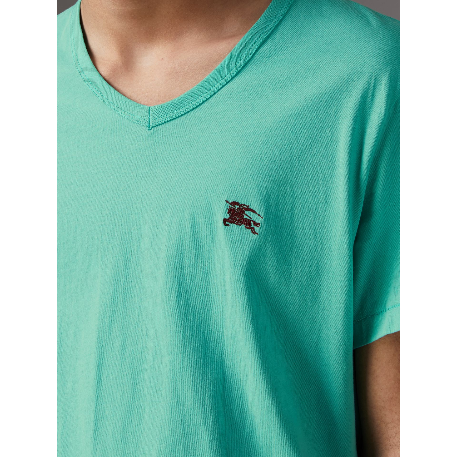 Cotton Jersey T-shirt in Turquoise - Men | Burberry United States - gallery image 1