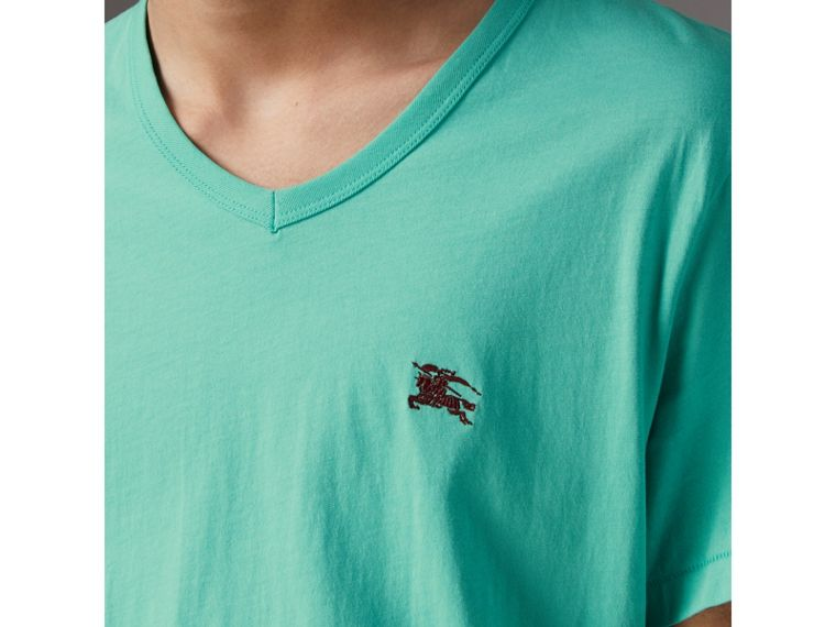 Cotton Jersey T-shirt in Turquoise - Men | Burberry United States - cell image 1