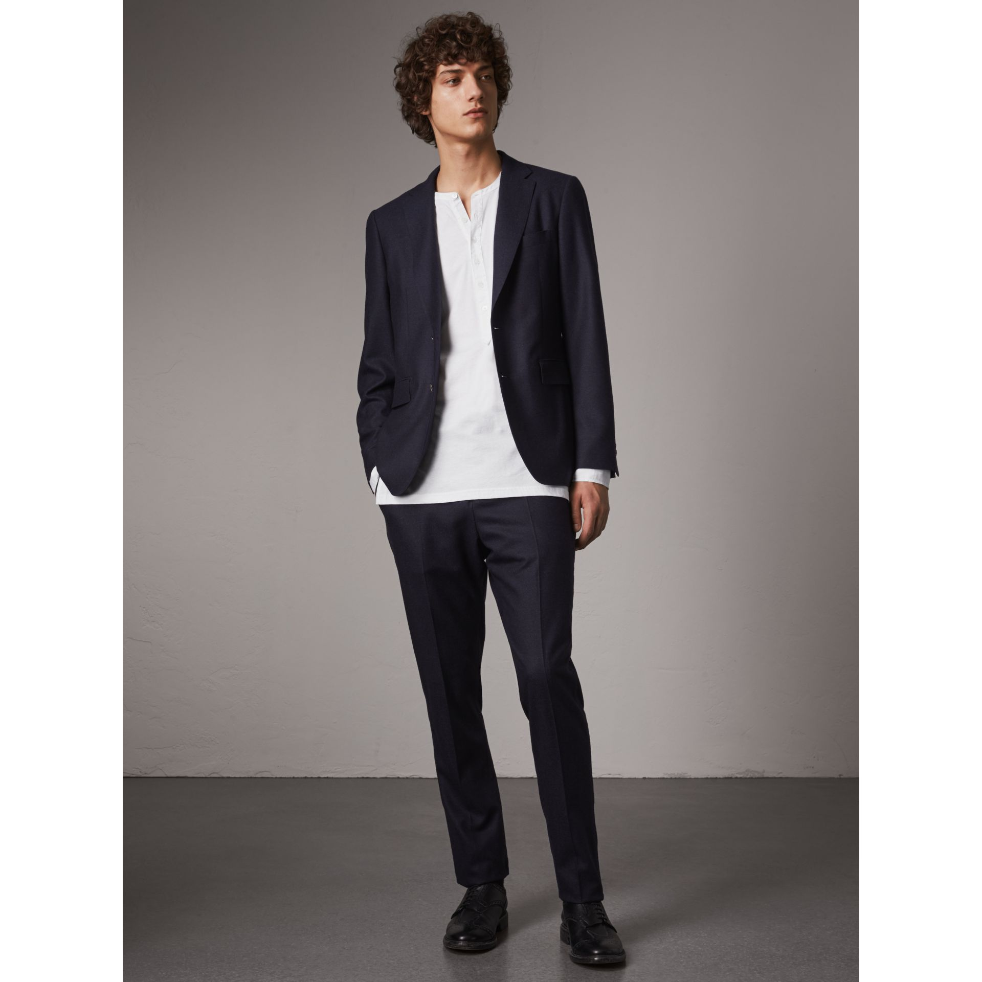 Soho Fit Wool Flannel Suit in Navy Melange - Men | Burberry Australia - gallery image 1