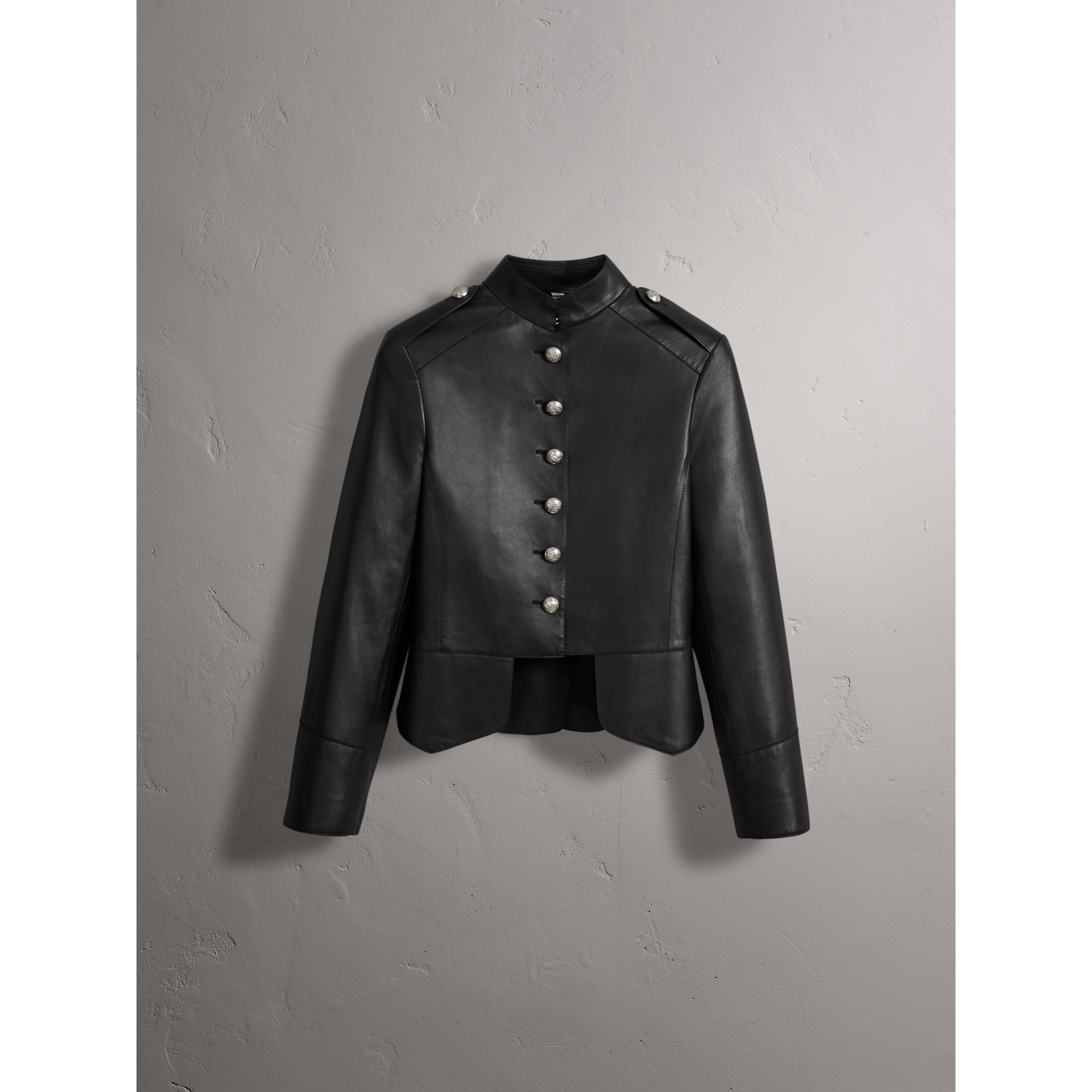 Lambskin Military Jacket in Black - Women | Burberry - gallery image 4