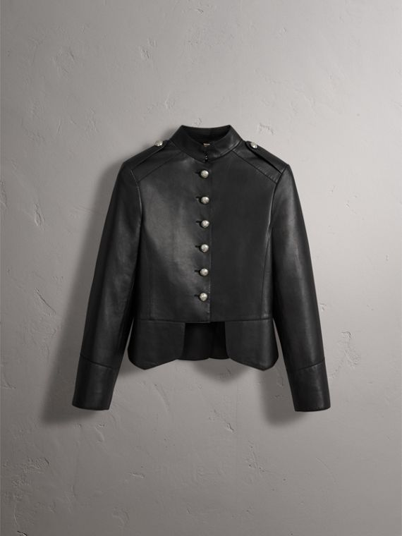 Lambskin Military Jacket in Black - Women | Burberry - cell image 3