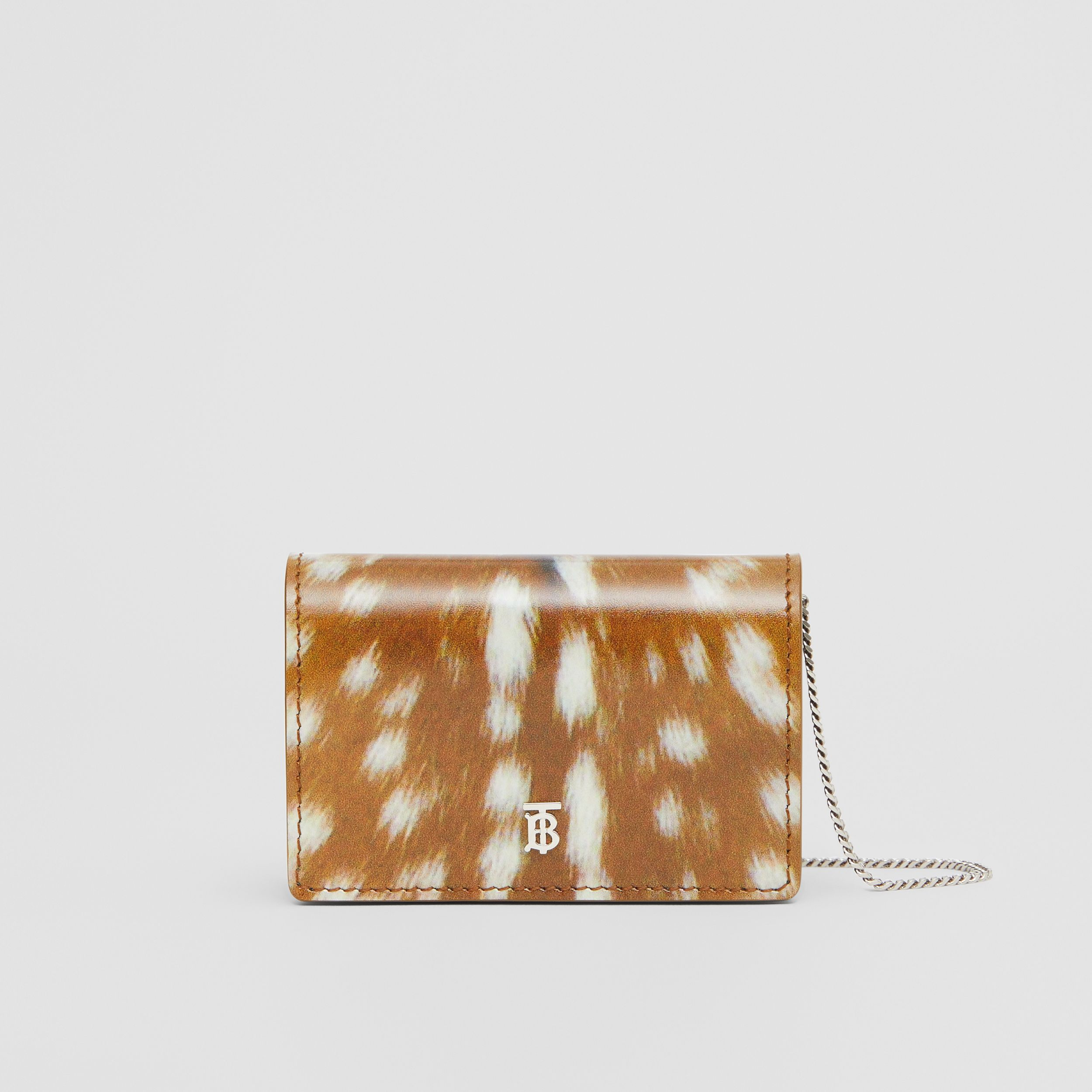 Deer Print Leather Card Case with Detachable Strap in Malt Brown - Women | Burberry - 1