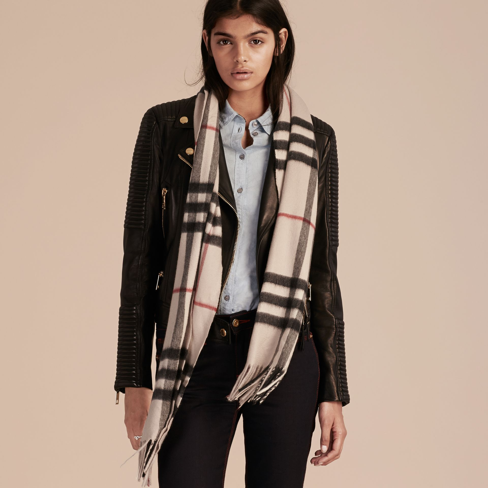 The Classic Cashmere Scarf in Check in Stone - gallery image 3