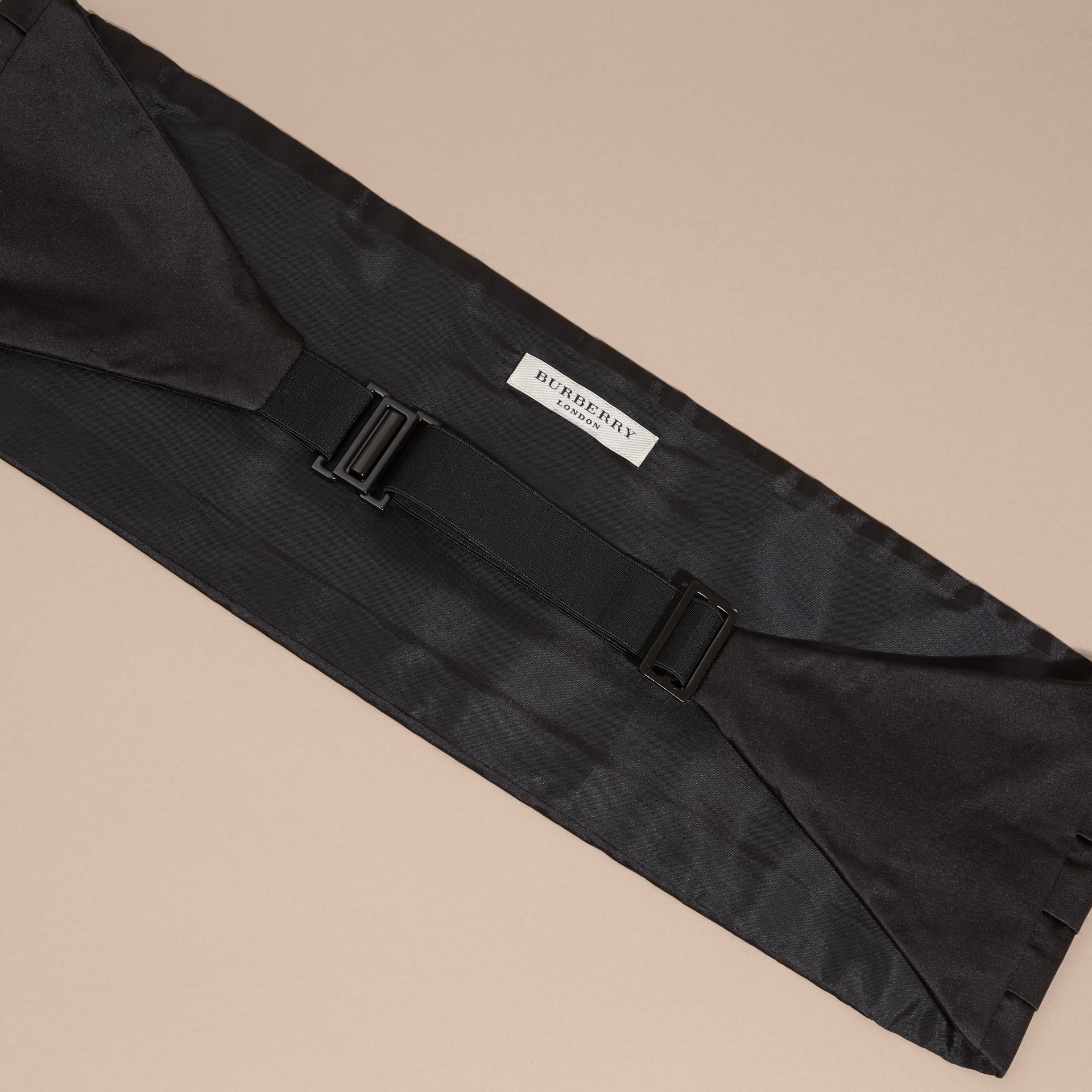 Black Pleated Silk Cummerbund Black - gallery image 3